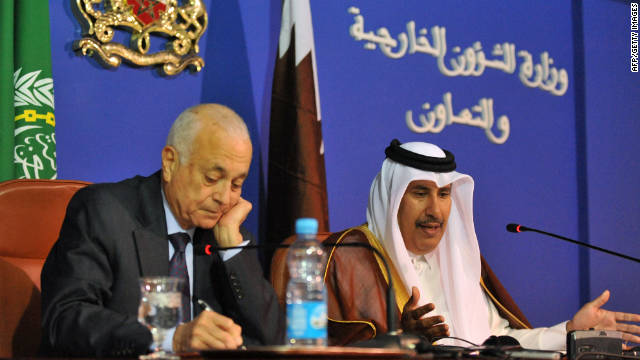 Arab League Secretary General Nabil al-Arabi, left, and Qatar's Prime Minister Hamad bin Jassim attend an Arab League meeting held to discuss Syria.