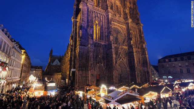 The Strasbourg Christmas market is set up in front of the city's imposing gothic cathedral.
