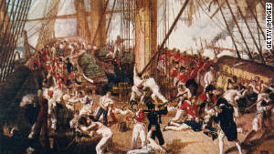 Sketch of the Battle of Trafalgar when Lord Nelson was hit.