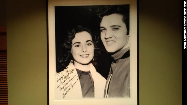 A photo of a young Elvis and his hometown sweetheart, Barbara Hearn, hangs in a Florida restaurant, whose owner is a fan.