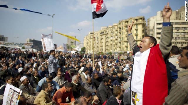 An anti-military rule protester shouts slogans in Tahrir Square on Friday.