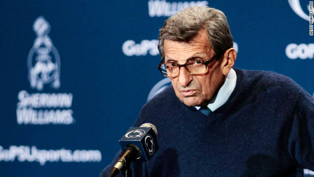 Penn State head coach Joe Paterno was removed on November 9, along with University President Graham Spanier.