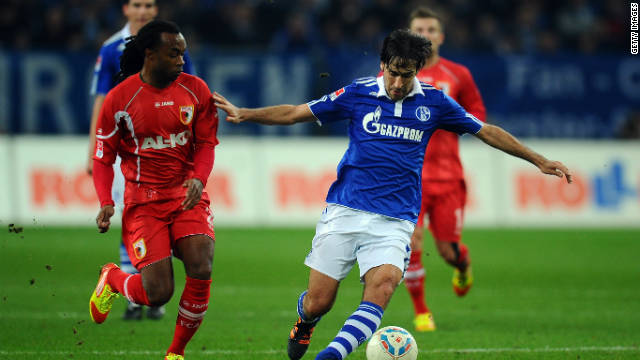 Veteran Spanish forward Raul Gonzalez (right) scored the third goal as Schalke moved up to fourth in the Bundesliga.