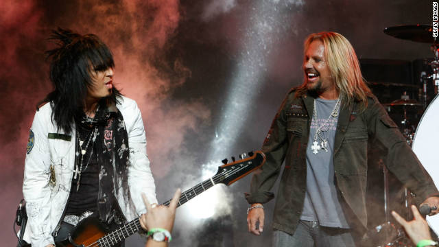 Bassist Nikki Sixx (left) and singer Vince Neil of Mötley Crüe, shown here performing in 2008.