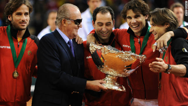 Rafa Nadal (second right) and David Ferrer (far right) will not be defending the Davis Cup in 2012.