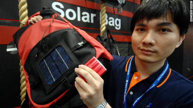This solar backpack is equipped with a lithium battery that has the capacity to power cell phones, MP3 players and other small electronic devices whilst on the move. Similar concepts have also been developed to charge laptop computers in recent years.