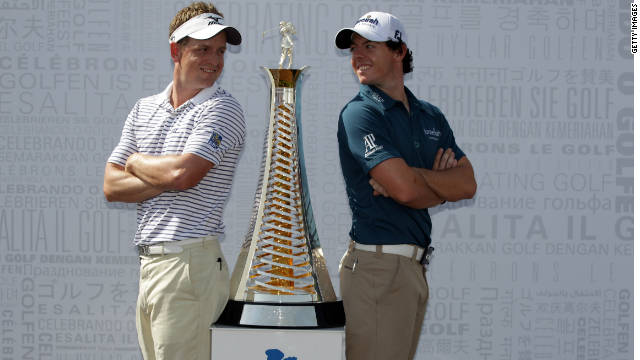 Luke Donald (left) and Rory McIlroy are all smiles ahead of this week's Dubai World Championship.