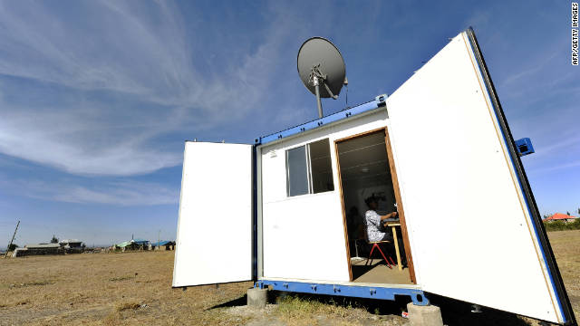 A solar-powered mobile internet cafe fashioned from a disused shipping container is part of an initiative to spread access to information in rural areas of Kenya. The project has been running since 2010 and generates all of its electricity via a series of solar panels on its roof.
