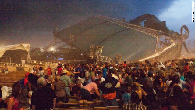 The stage at the Indiana State Fair collapses during a storm on August 13, killing seven people.