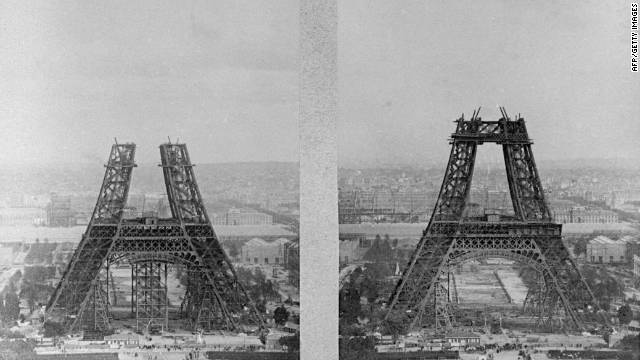 Construction works for France's most famous building in July 1887. Built for the 1989 World Fair, the tower was only intended to last 20 years. It was saved by its indispensable use as a radio and telecommunications transmitter.