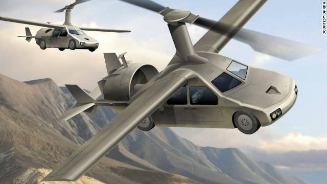 The Transformer program aims to build a flying car for the battlefield. The aim is to create a vertical take-off and landing vehicle that can carry four people more than 250 miles on one tank of fuel (artist's impression).