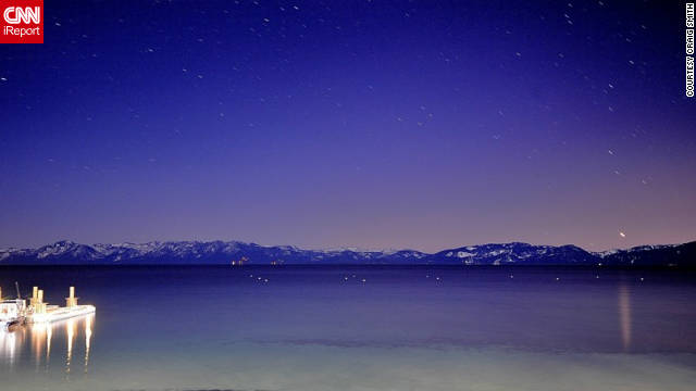"Craig Smith snapped this shot of clear, starry skies on a cold winter's night. ""Lake Tahoe is a special place. The mountains and lake are spectacular."""