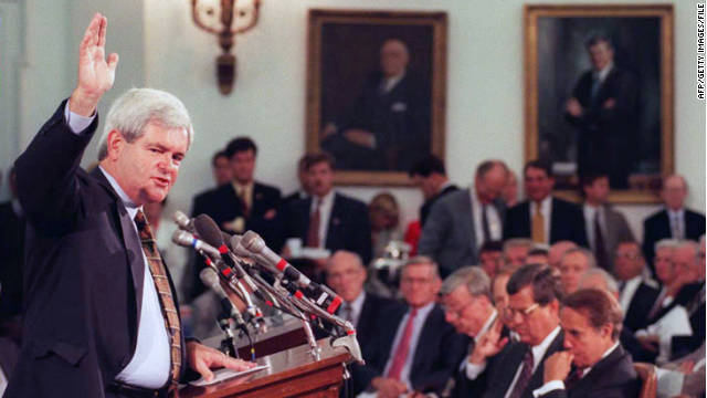 In 1995, Newt Gingrich was sounding many of the same themes he's using on the campaign trail today. 