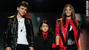From left, Prince, Blanket and Paris Jackson at the \'Michael Forever Tribute Concert\' at Millennium Stadium on October 8, 2011. in Cardiff, Wales.