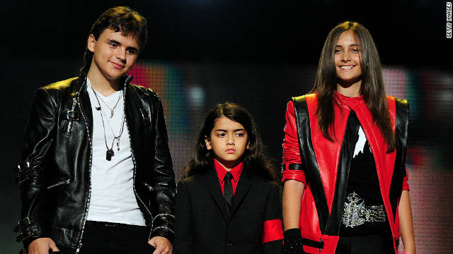 Prince Jackson, Blanket Jackson and Paris Jackson speak on stage during the 