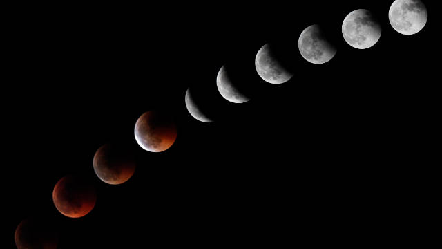 A sequence of combined photos shows the progression of a lunar eclipse from June of this year.