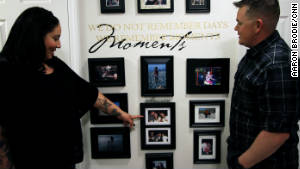 A wall of photos at their home in Fort Bliss, Texas, shows the evolution of the relationship of Raquel and Nathan Dukellis.
