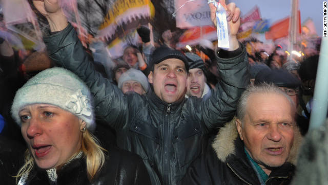 Tens of thousands of people took to the streets of Moscow on Saturday 10 December in protest at the election results.