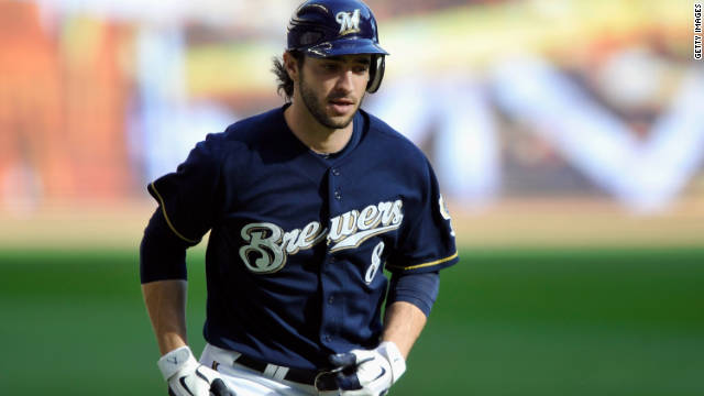 Ryan Braun rounds the bases on his two-run homer in the first game of the National League Championship Series in October.