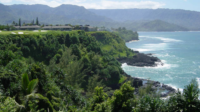 Perched on Hawaii's northern shore, the St. Regis Princeville Resort has 252 luxury rooms with 51 ocean-view suites. The 9,000-acre site provides stunning views of Hanalei Bay and the towering cliffs that served as the backdrop for the movie South Pacific. There are 27 holes at the Makai Golf Club, 18 of which were renovated and reopened in 2010. 