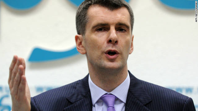 Russian metals tycoon and US basketball team owner Mikhail Prokhorov speaking in Moscow on Monday.