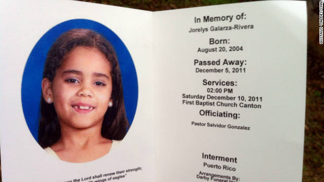 A service was held Saturday in Canton, Georgia, for Jorelys Rivera, 7. She will be buried Tuesday in Puerto Rico.