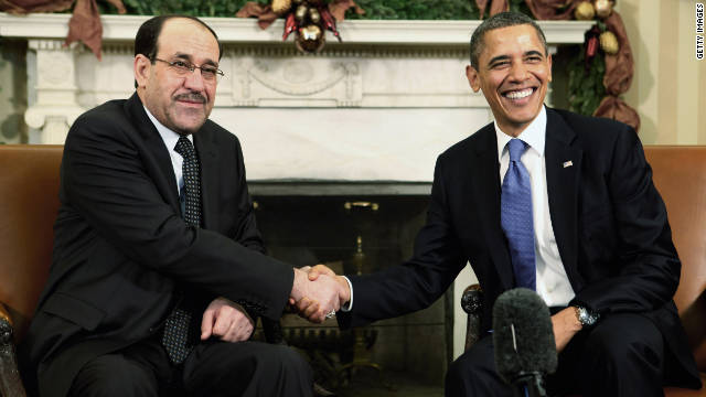 Obama, Iraqi prime minister meet amid U.S. troop withdrawal