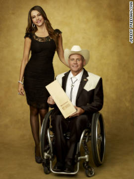Actress Sofia Vergara and CNN Hero Richard St. Denis of the World Access Project.