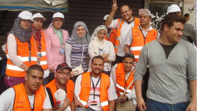 Volunteers from Tahrir Doctors Society on hand to give medical help during a sit-in in Tahrir Square in May 2011.