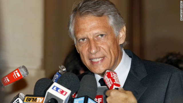 France's former prime minister Dominique de Villepin addresses journalists at the Paris courthouse on September 14, 2011.