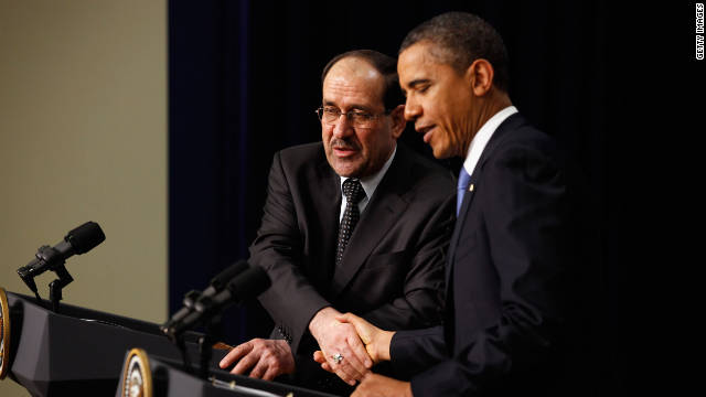 Iraqi Prime Minister Nouri Al-Maliki and President Barack Obama shake hands during a news conference in Washington on Monday..