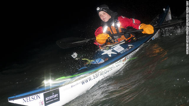 Sarah Outen at the beginning of her trip crossing the Channel in the first week of April 2011.