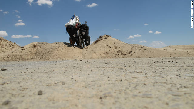 Outen says she struggled with the roads in Kazakhstan as she neared China and was at times, forced to push her bicycle through sand.