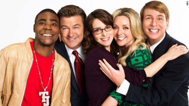 """""""30 Rock"""" was willing to bite the hand that fed it: an NBC comedy set at NBC. The stars were, from left, Tracy Morgan, Alec Baldwin, Tina Fey, Jane Krakowski and Jack McBrayer."""