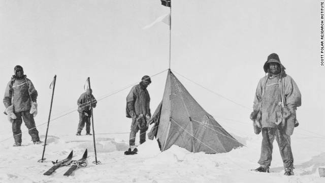 Scott and his men made it to the South Pole, but found rival Norwegian explorer Roald Amundsen's tent already there. They died on the return journey. Photo: Captain Scott and his party at the South Pole.