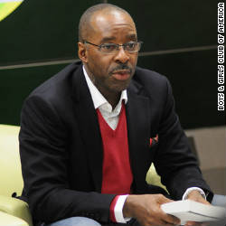 Actor Courtney B. Vance talks to youth about the importance of reading.