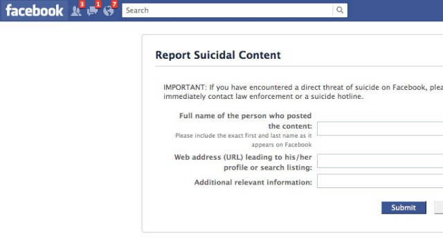 Facebook lets users report friends' potentially suicidal posts in order to refer them to help.