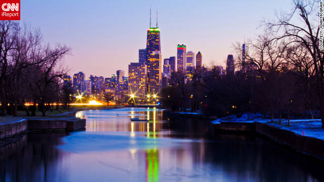 "John McGraw shared this stunning photo of the Chicago skyline. ""I'm lucky enough to be in Chicago several times a year and I'm always finding new things to do."""