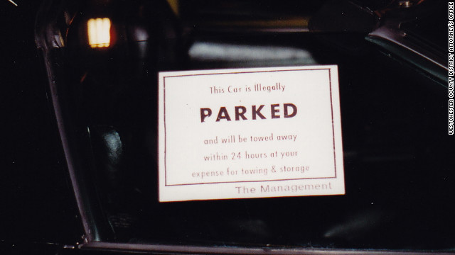 DiGuglielmo Sr. placed a &quot;no parking&quot; sticker on the window of Campbell's Corvette.