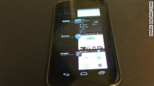 The Galaxy Nexus is the first to run Android 4.0, which has a dedicated multitasking button.