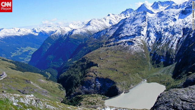 "Nadine Hamad snapped this shot of ""the view of the reservoir from the Franz-Josephs Hohe, the prime viewpoint for the majestic Grossglockner mountain. No description could ever convey the breathtaking beauty of the mountains."""