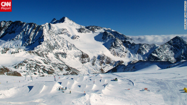 """This is Terrain Park at Stubai Glacier, which is approximately an hour from Innsbruck,"" Ryan Duckwitz said of his photo. ""Amazing mountain views at an ear popping elevation upwards of 10,300 feet!"""