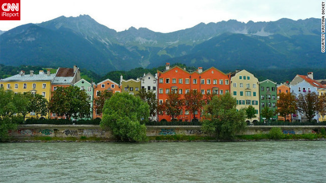 "Kristina Dickey took this photo of the colorful buildings of Innsbruck from a cafe on the Inn River. ""The mountains and architecture are beautiful and walking around to sightsee was a lot of fun."""