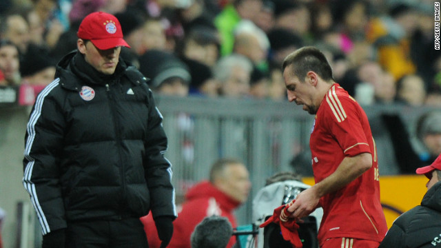 Franck Ribery walks off after being shown a red card in Bayern Munich's 3-0 win over Cologne.