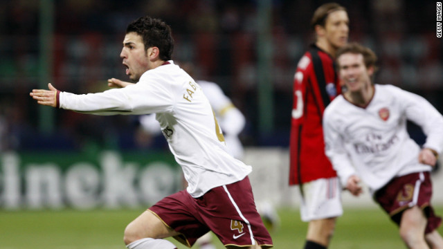 Arsenal eliminated AC Milan at the last 16 stage of the 2007/08 competition, goals from Emmanuel Adebayor and Cesc Fabregas handing Arsene Wenger's team a crucial 2-0 second-leg victory at the San Siro.