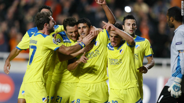APOEL Nicosia are the first Cypriot side to reach this stage of the competition and they will face French outfit Lyon in the last 16.