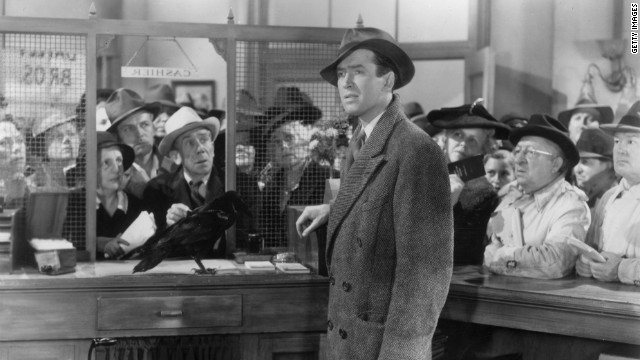 James Stewart is the reluctant Bedford Falls lifer, George Bailey, in