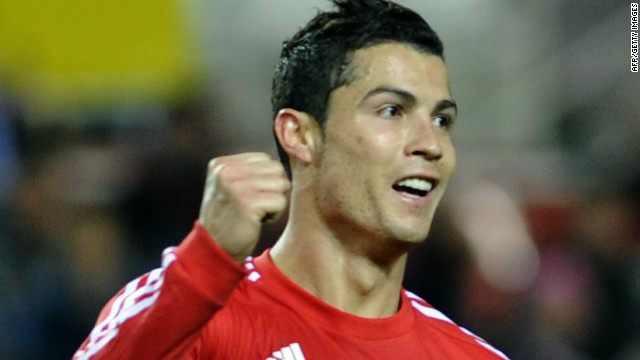 Real Madrid's Cristiano Ronaldo celebrates after scoring one of his three goals at Sevilla's Ramon Sanchez Pizjuan stadium.