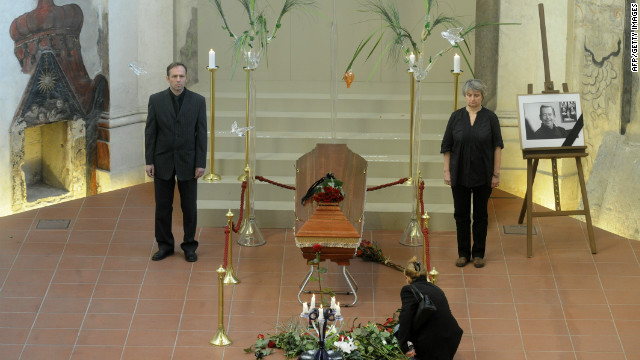 Vaclav Havel's coffin went on display Monday in St. Anna's Church, central Prague.