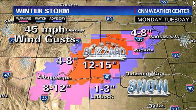 Blizzard conditions are expected to make traveling dangerous across parts of the Southwest.